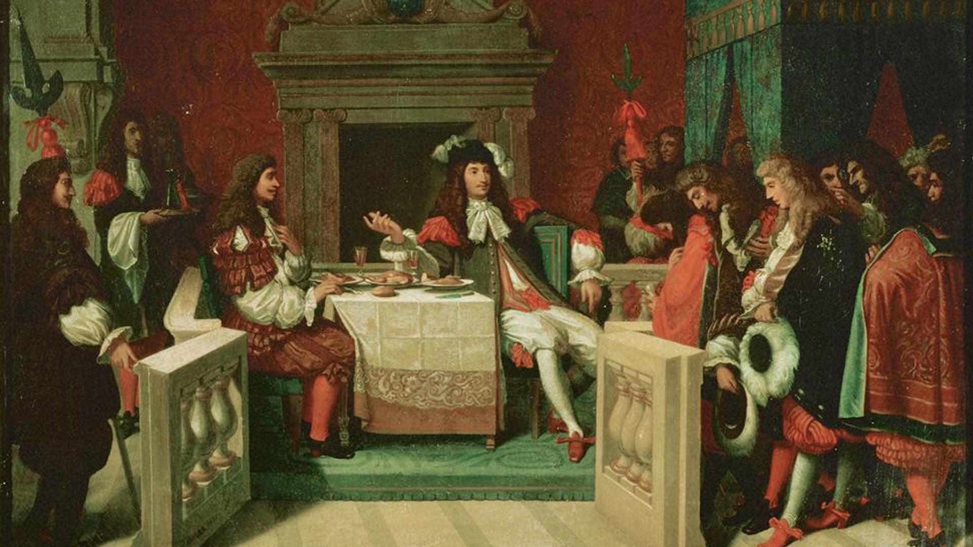 Painting: Louis XIV et Molière déjeunant à Versailles, Jean-Auguste-Dominique Ingres, 1837